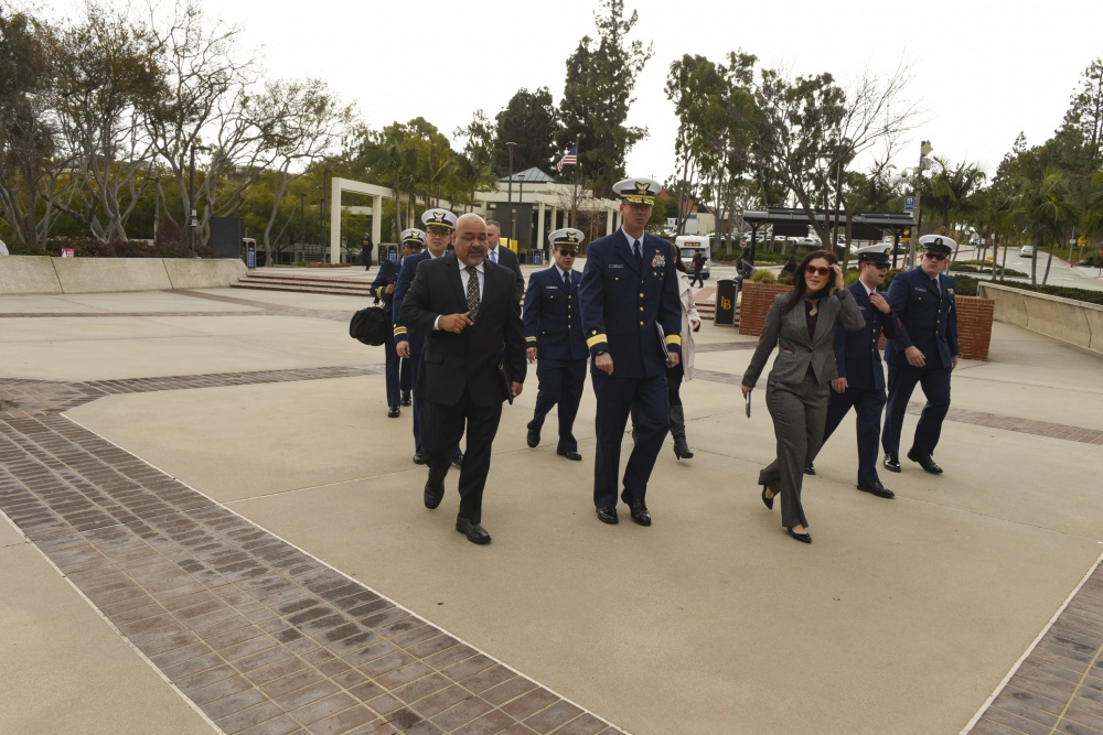 U.S. Coast Guard Rear Admiral Nathan A. Moore, deputy commander, Pacific Area, along with other members from Sector Los Angeles-Long Beach take a tour of California State University - Long Beach's campus, in Long Beach, California, February 15, 2019. Admiral Moore was given a tour of before, he and California State University Long Beach executive leaders signed a Memorandum of Understanding to increase engagement between Coast Guard and CSULB, a minority serving institution. U.S. Coast Guard photo by Petty Officer 3rd Class DaVonte' Marrow.